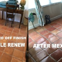 PAINTERS TAPE, RUBBER PADS AND VINEGAR WILL ALL RUIN THE FINISH ON YOUR MEXICAN TILE FLOOR, MEXICAN TILE RENEW CAN FIT IT.