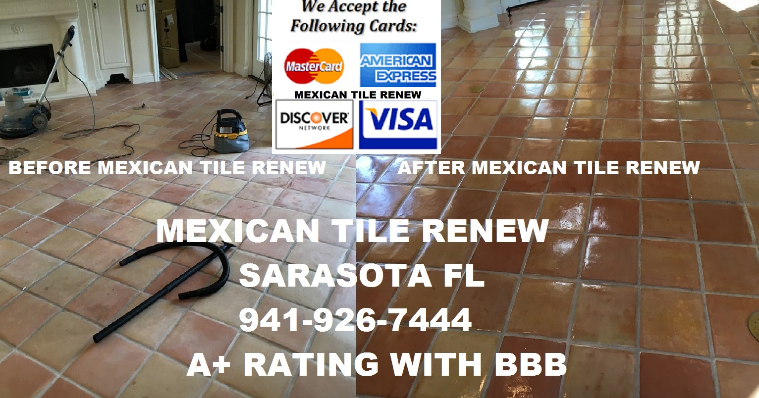 Removing the old yellowed and dirty sealer from you mexican tile clean and seal your mexican tile floor to like new appearance with mexican tile renew sarasota fl call 941 926 7444 removing the old yellowed and dirty dailygadgetfo Image collections