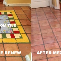 MEXICAN TILE RENEW PROJECT IN BRADENTON FL TO REMOVE PAINTED FAUX RUG FROM TILE