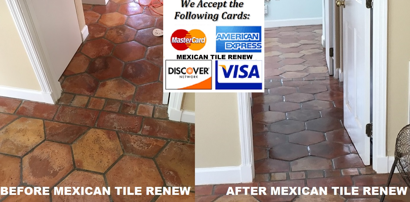 Mexican tile cleaning sealing mexican tile renew fort myers mexican tile renew project on longboat key fl with old time octagon saltillo tiles that had been cleaned with vinegar over the years dailygadgetfo Choice Image