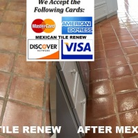 MEXICAN TILE RENEW PROJECT IN HOLMES BEACH FL WHERE VINEGAR HAD BEEN USED TO CLEAN THE TILE FLOOR